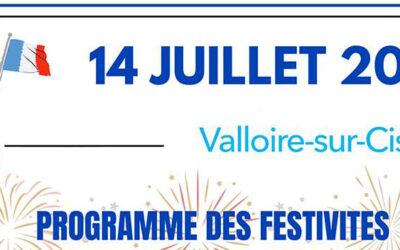 14 juillet 2021 – programme des festivités